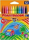 Bic Plastidecor Assorted Colored Crayons (Pack of 12)