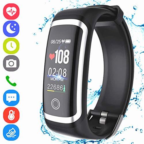 Hocent Fitness-Tracker HR, Activity Tracker Smart-Armband mit Schrittzähler Herzfrequenz-Blutdruck-Monitor IP67 Wasserdicht Anruf SMS SNS erinnern für Männer Frauen Kinder Android iPhone