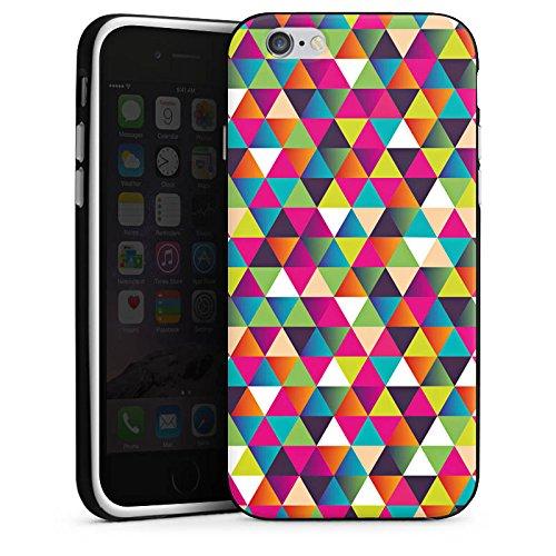 Apple iPhone X Silikon Hülle Case Schutzhülle Dreiecke Muster Bunt Silikon Case schwarz / weiß