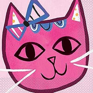 Unique Party 73242 - Servilletas de papel (16 unidades), diseño de gato, color rosa