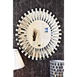 Venetian Design Mingling Slats Wall Mirror Diameter : 30 Inches | Get 2 Photo Frame + Jewellery Box + Table Clock Worth Rs 7500/- Absolutely Free With This Wall Mirror
