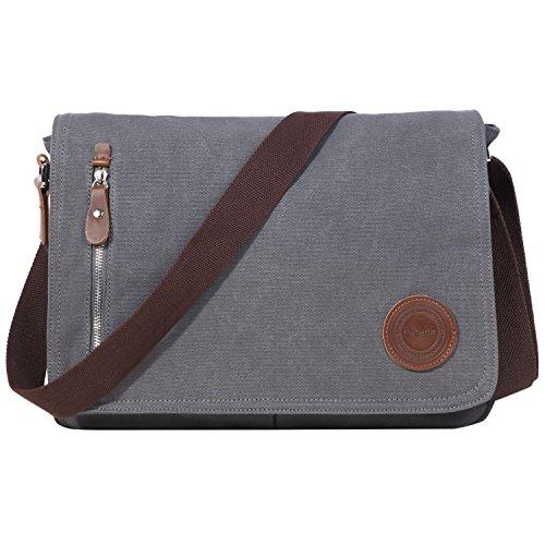 Umhängetasche Herren Fafada Retro Canvas Freizeit Schultertasche Handtasche Schultasche Messenger Bag Unitasche Grau (Canvas Messenger Bag Retro)