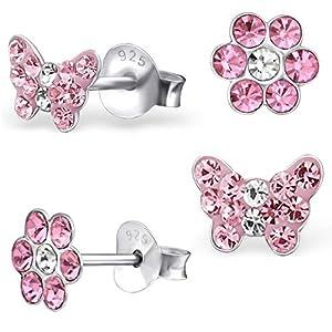 2 Paar Rosa Ohrstecker Kleine Kristall Schmetterling + Blume 925 Echt Silber Mädchen Kinder Ohrringe
