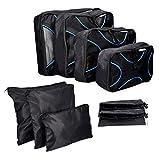 Navaris Koffer Packtaschen Set 9-teilig - Kleidertaschen Schuhbeutel Wäschebeutel Reise Gepäck Organizer - Travel Packing Cubes Schwarz Blau