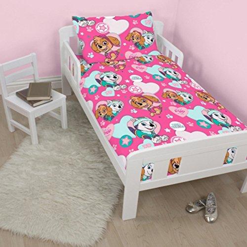 Paw Patrol Skye Everest Pals Pink White Reversible Junior Baby Toddler Cot Bed Duvet Set Quilt Cover Pillowcase Girls Bedding