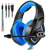 ZIHENGUO Stereo-Gaming-Headset Kabelgebundene Kopfhörer Mit Rauschunterdrückung Sport Kopfhörer Mit Mikrofon PS4 Line-Lautstärkeregler,Blue