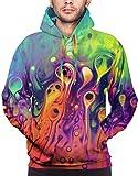 ZQHRS Pigmento di miscelazione degli Uomini di Modo Pullover Hooded Fleece Felpa Tops L Size