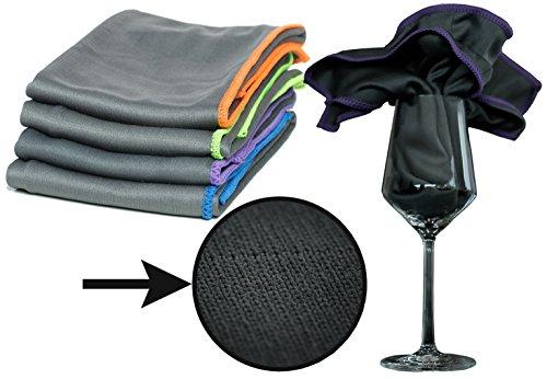 Premium Carbon Microfaser Glastücher mit Carbon-Fasern zur professionellen Reinigung für Fussel- und streifenfreie Gläser / Spiegel / Fenster - Poliertuch mit unfassbarer Aufnahmekapazität - 50x40cm - 350gsm (4)