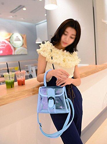AiSi Damen Mädchen transparente kleine moderne Leder Umhängetasche Handtasche Clutch Abendtasche mit Schulterriemen, durchsichtig blau blau