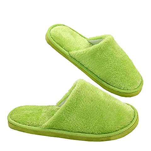 Yaxitu Winter Plush Indoor House Chaussures Solid Color Soft Slipper 1 Double (S (39-40), Vert)