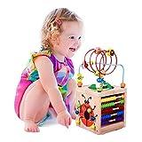 BeebeeRun Cube d'Activité Bébé en Bois Centre d'Activité Jeu d'éveil Premier Âge Jouet Educatif Interactif Cadeau pour Les Jeunes Enfants (Natural)