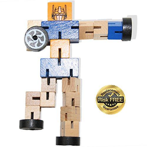 EasY Kid's ToY- NEUHEIT Holzroboter mit vielen Kombinationsmöglichkeiten, Bestes Holzspielzeug für Spielerisches Lernen der Motorik ab 2 Jahre, Ein sinnvolles Geschenk für Kinder für Spiel Spass und Freude