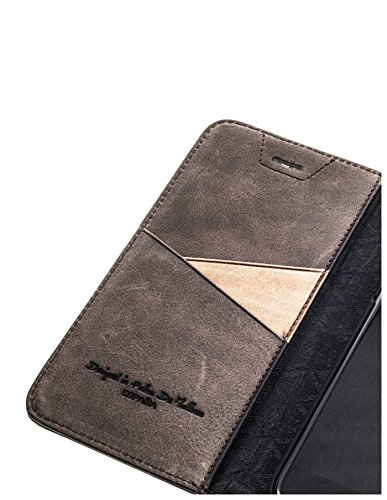 "QIOTTI >                Apple iPhone 6 / 6S (4,7"")                < incl. PANZERGLAS H9 HD+ Geschenbox Booklet Wallet Case Hülle Premium Tasche aus echtem vegetabil gegerbtes Kalbsleder mit Kartenfächer in SCHWARZ. Edel verpackt i KAFFEE BRAUN"