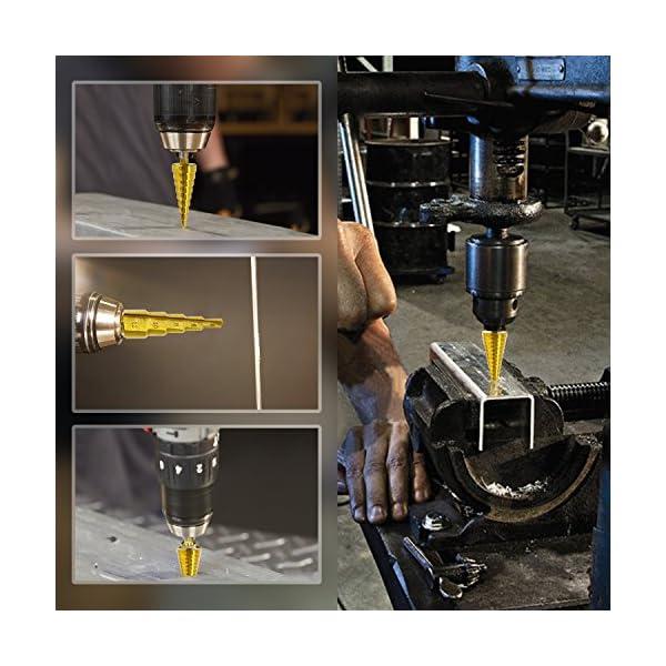Hiveseen-Kit-3-Punte-Coniche-Fresa-Conica-Trapano-a-Gradini-HSS-Titanium-Misure-4-124-204-32-Buco-Cutter-a-Scalini-per-Eseguire-Foro-In-Metallo-Acciaio-Ottone-Legno-Plastica-Ferro