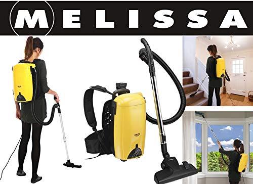 MELISSA 16420275 Rückenstaubsauger,Rucksack Staubsauger Rücken-Sauger-Wandsauger 899 Watt,mit Blas-Funktion, Gelb Schwarz, 25, 5 x 49 x 32 cm