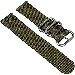 Replacement Band Watch Band Textile Strap Olivegreen with silver Metall loop Minott 28229S, width:22mm