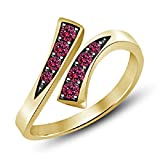 Silvernshine Jewels Prong Set Pink Saphir Gold Fn. 925 Sterling Silber Einstellbare Bypass Zehenring
