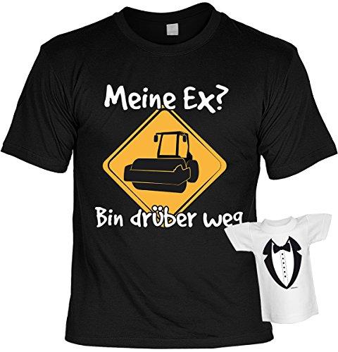 Lustige Sprüche Fun Tshirts - Meine EX? Bin drüber weg ... - incl. Mini-Shirt ohne Flasche Schwarz