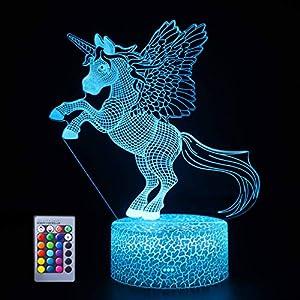 Lámpara 3D de unicornio con