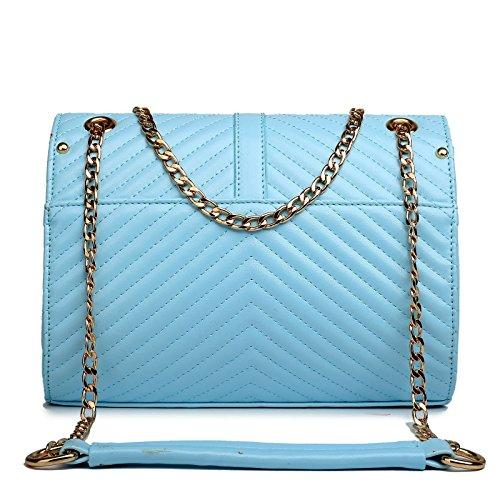 Miss Lulu Damen Gesteppt Kunstleder Kette Tasche Cross Body Schulter Handtasche Himmelblau