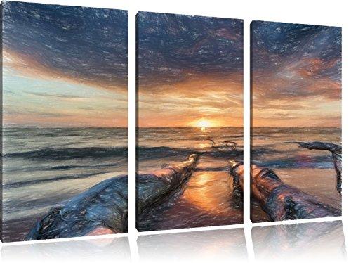 beach-effetto-olio-effetto-di-arte-del-pastello-3-pezzi-picture-tela-120x80-immagine-sulla-tela-xxl-
