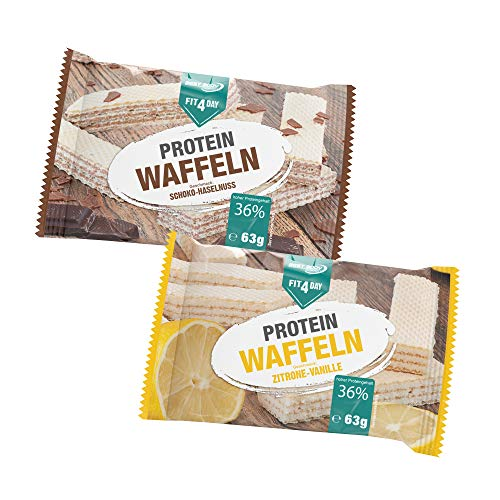 Best Body Nutrition Fit4Day Protein Waffeln Mix-Box Zitrone-Vanille und Schoko-Haselnuss, 18 x 63 g