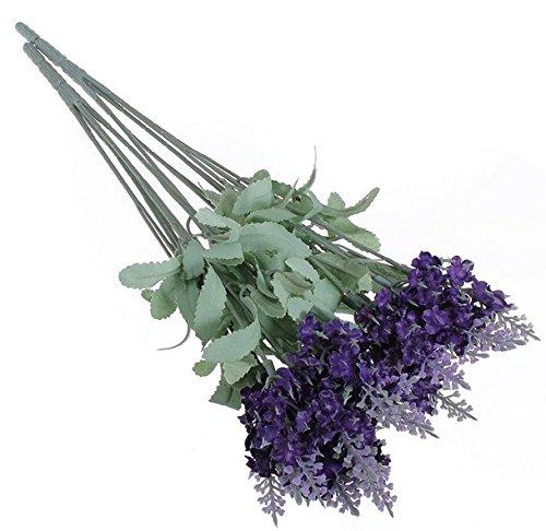 Liroyal Ramo de flores artificiales de lavanda, de seda, para decorar la casa o el jardín (10 unidades), color violeta