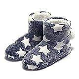 Zapatillas de Estar por casa Bootie Estrellas Lindo Peluche Mujer Azul 36-37 EU