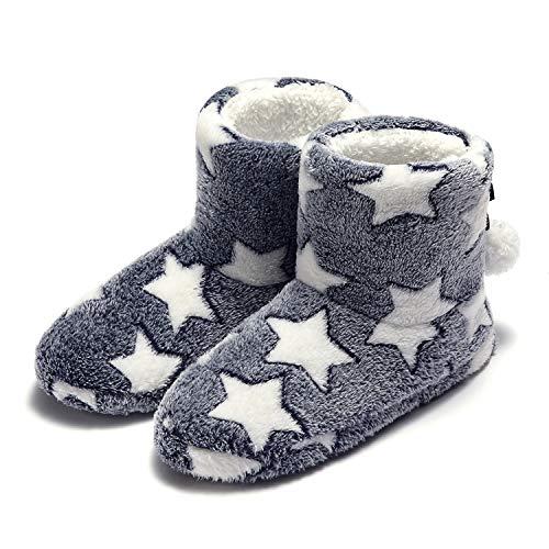 Garatia Plüsch Doppelt Warm Pantoffeln Slip-on Anti-Rutsch Winter Hausschuhe für Damen und Herren Kaffee 41/42EU