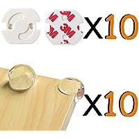 Seguridad Bebes 20 Piezas (10 Tapones de Seguridad para Enchufes + 10 Esquina Protecciones) Protección para Bebé Niños VOOA