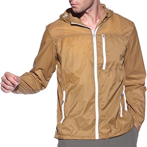 Yuanu Sommer Outdoor Dünn Lange Ärmel Sonnenschutzkleidung Bequem Atmungsaktiv UV-Schutz Haut Windjacke Für Männer Und Frauen Herren Stil Kaffee XL