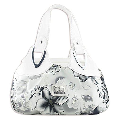 KAXIDY Damen Mädchen PU Leder Handtaschen Schultertaschen Blumentasche Umhängetasche Style-03