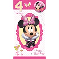 Minnie Mouse Birthday Card With Badge - Age 4