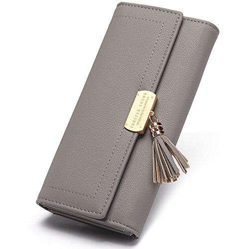 CLUCI Geldbörse Damen Elegant Leder Lang Geldbeutel Portemonnaie mit Druckknopf grau