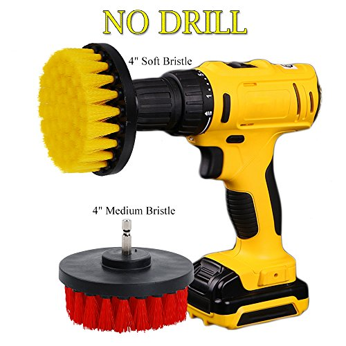OxoxO 4inch Drill Brush - Soft Medium Power Drill Attachment Scrub Cleaning Brush Kit for Bathroom Showers Tile Grout Kitchen Pool Glass Carpets Upholstery Leather - Garage Floor Kit