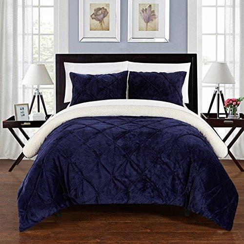 Chic Home 3Stück Josepha Pinch Plissee Rüschen und Pin Tuck Sherpa Gefüttert King Bett in einem Beutel Tröster Set, grün, Mikrofaser, navy, Twin XL -