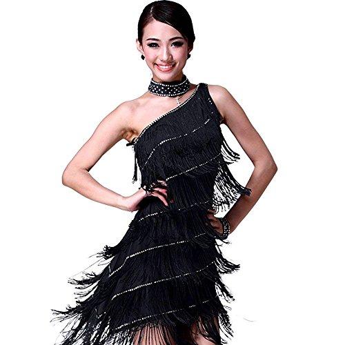 Kostüm Tanz Tango - Latein Tanz Kleider Kostüme - Latin Tänze Walzer Tango Swingtanz Party Salsa Dekoration Accessoires Pailletten Quasten Wettbewerb Ball Rock Trikot Tanzkleid für Damen Mädchen - Polyamidfaser (Schwarz)