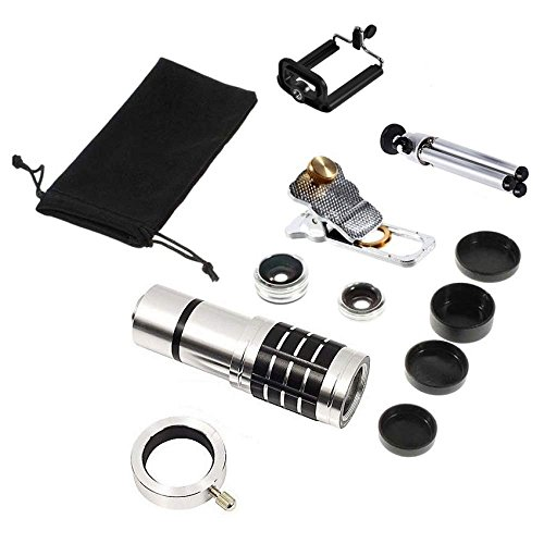 Mobile Gear 4 in 1 universal Mobile Camera Lens with 12X Zoom, Macro, Wide Angel, Fish Eye with Tripod & Attachment