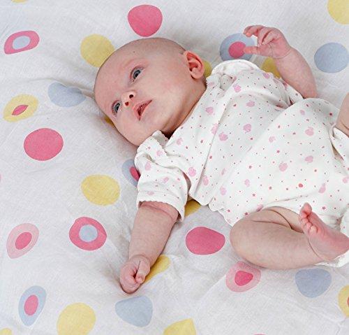 Piccalilly Bio-Baumwolle Vielfarbig Baby Mädchen Spot Musselin Pucktuch 120x120cm