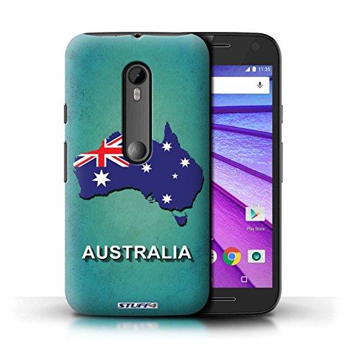 Custodia/Cover/Caso/Cassa Rigide/Prottetiva STUFF4 stampata con il disegno Nazioni bandiera per Motorola Moto G Turbo Edition (Australiano Moto)