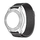 Samsung Gear S3 Classic/ Frontier Armband, Omter Milanaise Armband rostfreier Stahl Armband mit starkem Magneten(Schwarz