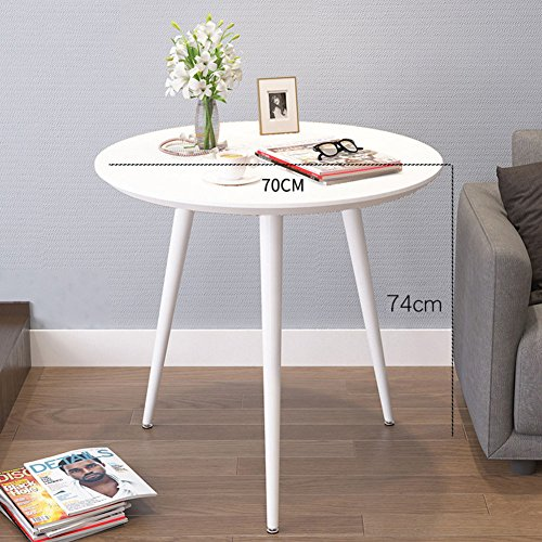 D&l pvc impermeabile tavolino da salotto,tondo tavolini bassi moderna semplice divano tavolino creatività tavolino da caffè tavolino da telefono-bianca 70x74cm