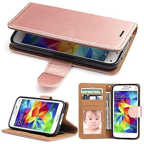 Coque Galaxy S5 Mini Portefeuille,SOWOKO Housse à rabat Cuir Etui avec Fonction Support pour Samsung Galaxy S5 Mini (Rose