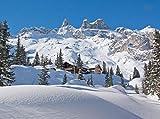 Fototapete Verschneite Alpen 350cm Breit x 260cm Hoch Vlies Tapete Wandtapete - Tapete - Moderne Wanddeko - Wandbilder - Fotogeschenke - Wand Dekoration wandmotiv24