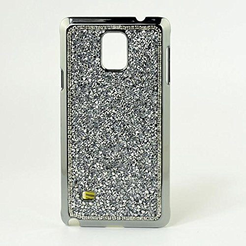 Samsung Galaxy Note 4 N9100 Smartphone Cover,Vandot 3 e 1 set Utra Thin Light Glitter Grossi Artificiale Custodia Case Cover di Protezione Skin di Hard Silicone PC - Rosa + Adorabile Kitty Gatto Spina Argento