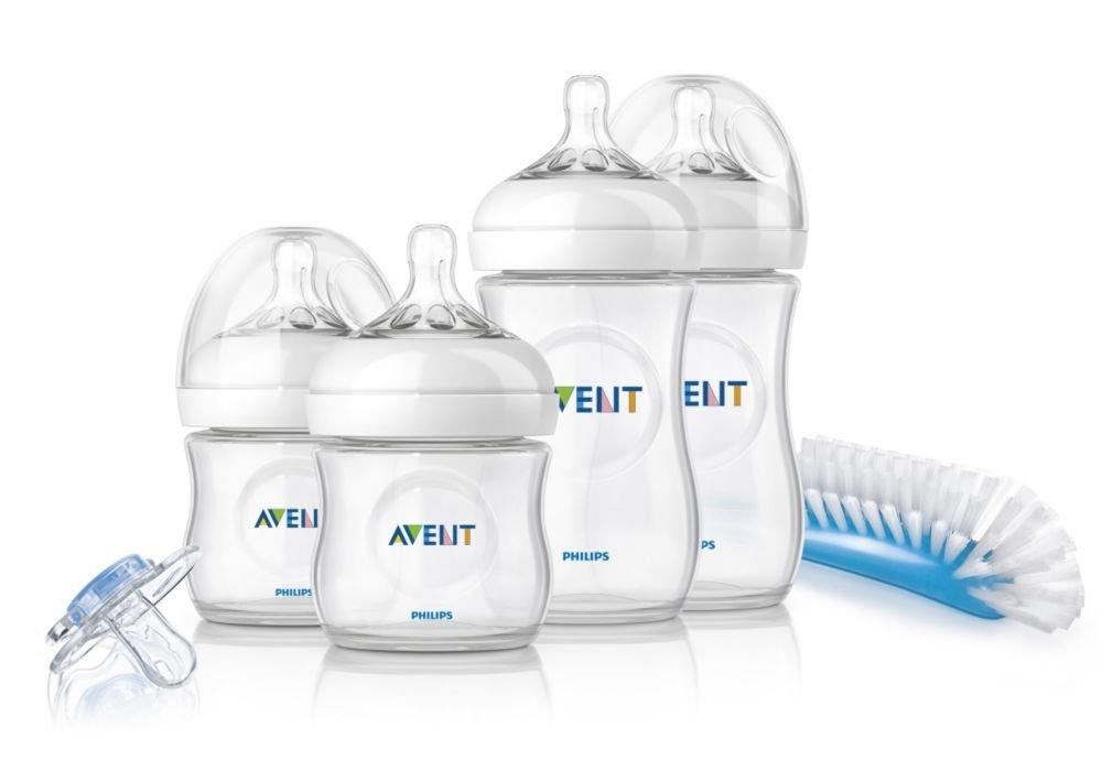 Philips Avent SCD290/01 – Set Regalo gama Natural para recién nacidos, 2 biberones 125 ml, 2 biberones 260 ml, 1 escobilla, 1 chupete, color transparente