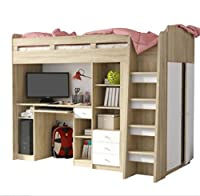 Functional Single High Sleeper Bed with Storage - With Built-in Desk Unit, Wardrobe, 3 Drawers - A Practical Addition to your Child's Bedroom
