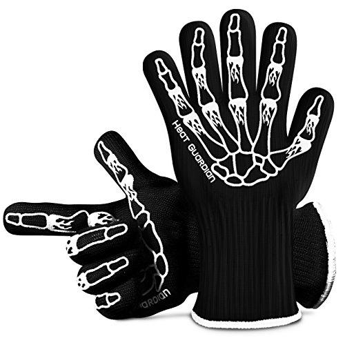 """BBQ Hitzebeständige Handschuhe-Grillen Kochen, Topflappen, Topflappen, Schutzhandschuhe widerstehen Hitze bis zu 932 ° F, mit 5 """"Manschette für den Unterarmschutz"""