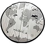 Nordic Baby Kids Mapa del Mundo Playmat Ronda Bolsa de almacenamiento de lona Alfombra Diámetro 135cm Beige