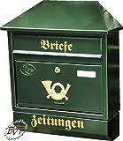 BTV Großer Briefkasten, mit Rostschutz Walmdach W/gr grün dunkelgrün moosgrün Zeitungsfach Zeitungsrolle Postkasten